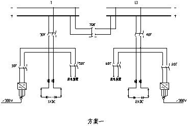 先合上7qf,此时系统出现蓄电池短时并联运行,再断开3qf,完成母线切换.